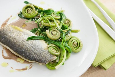 Union Market Recipe: Roasted Branzino with Fiddlehead Ferns, Pickled Ramps, and Burnt Bread Sauce