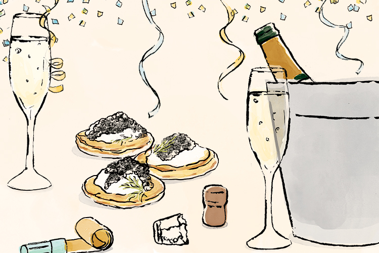 Union Market - New Year's illustration - champagne, confetti and caviar