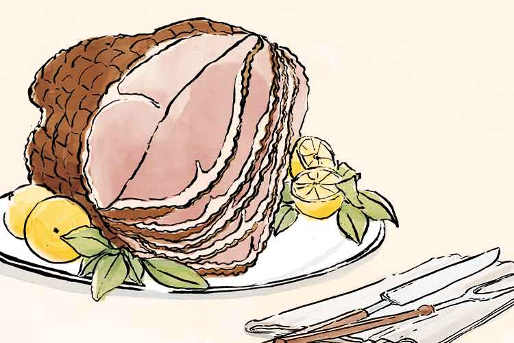 Union Market - Christmas Ham Illustration
