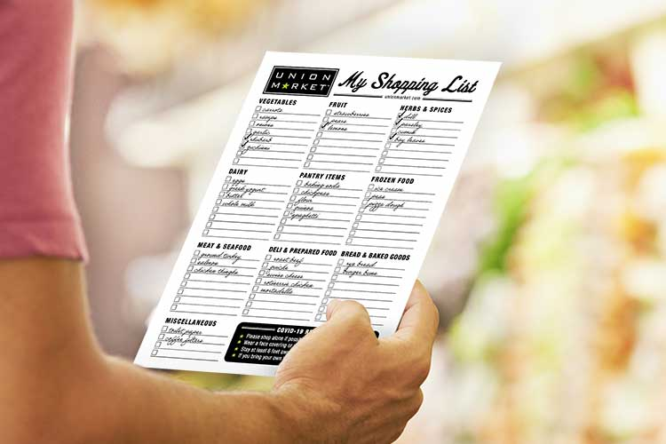 Union Market - Downloadable Shopping List